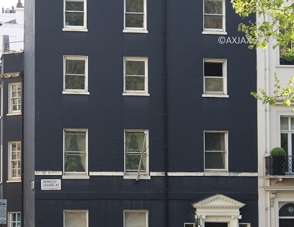 Photograph showing the front elevation of 52 Berkeley Square, Mayfair, London, W1J, displayed on axjax.com